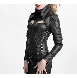 Gothic Goth Punk Rock Cyber Black Leather Look Cool Winter Jacket Punk Rave