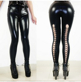 Punk Style Personalized Women's Sexy Black Lace Up Leggings