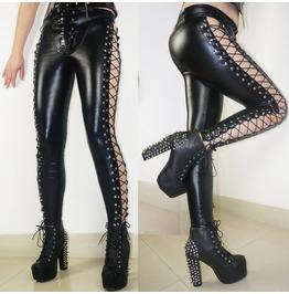 2016 Punk Rock Side Lace Up Personalized Women's Leggings