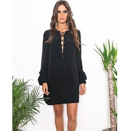 Casual Lace Up Short Black Dress