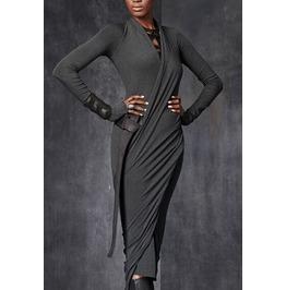 Slim Fit Long Sleeves Wrap Bodycon Dress