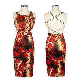 2016 Fashion Snake Pattern Print Backless Cross Strap Dresses