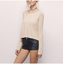 Lace Hollow Halter Bottoming Women's Long Sleeved T Shirt