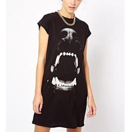 Dog Mouth Print Raglan Short Sleeve Dresses