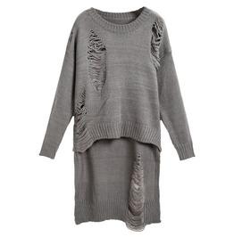 Grey Long Sleeve Hollow Dipped Hem Knit Long Sweater