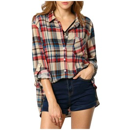 Long Sleeve Lapel Buttons Plaid Blouse