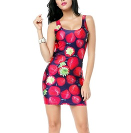 Strawberries Sleeveless Mini Dress Design 3030