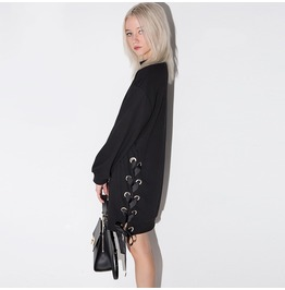 Punk High Collar Side Waist Lace Up Black Long Sleeved Dress