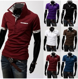 Men's Cotton Plaid Stand Collar Premium Polo Shirts