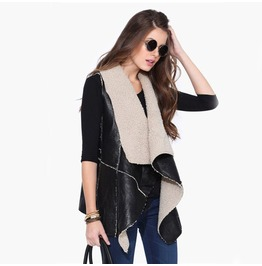 Leather Sleeveless Jacket Women's