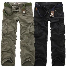 Fashion mens zipper and multi pocket cargo pants no belt pants