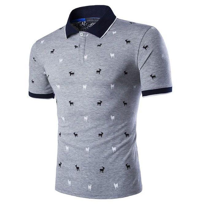 Plus Size Men\'s Short Sleeve Polo Shirt With Applique
