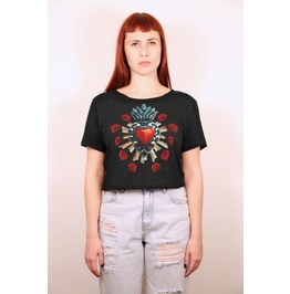 Sacred Heart Of The Virgin Intricate Milagros With Red Roses Black Croptop