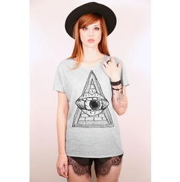 Illuminati Triangle And Eye Vintage Gray Tshirt