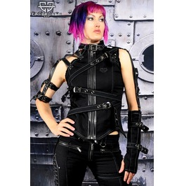 Apocalypse Gothic Industrial Cyber Punk Tattered Burning Man Top Female