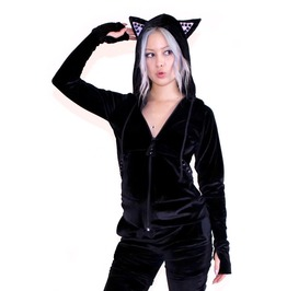 Velvet Kitty Kat Hoodie With Studs