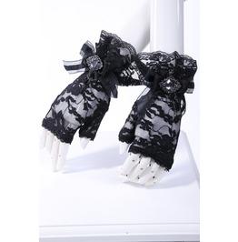 Gothic Goth Lolita Steampunk Victorian Style Fingerless Black Gloves