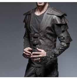 Leather steampunk rock military mens jacket