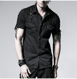 Men Gothic Goth Skull Goth Punk Rock Metal Black Shirt Y 530