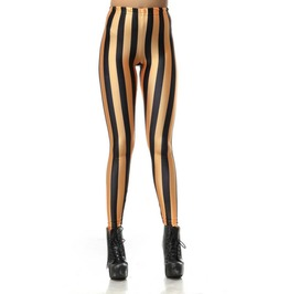Orange And Black Stripes Leggings Design 201