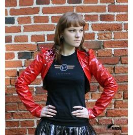 Masq Red Shiny Heavy Metal Cropped Jacket