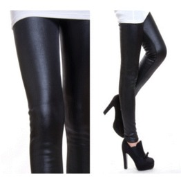 Black Goth Punk Faux Leather Thick Skinny Leggings