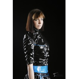 Masq Black Blue Shiny Cropped Jacket