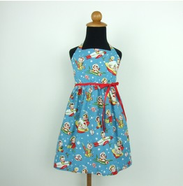 Baby Blue Vintage Red Ribboned Space Quest Dress $9 Worldwide Shipping