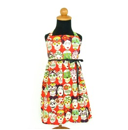 Girl's Orange Black Ribbon Mexican Sugar Skull Kids Dress
