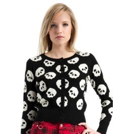 Jawbreaker Clothing Women's Black Skull Print Cardigan