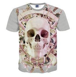 New Arrival Punk Rock Style Sugar Skull Print Men's Tshirts