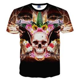 New Arrival Punk Rock Style Floral Skull Print Men's Tshirts