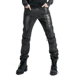 Gothic Goth Rock Steampunk Leather Look Black Silver Pants