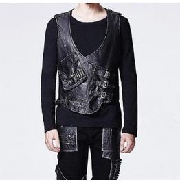 Gothic Goth Rock Metal Military Costume Hunter Style Black Vest