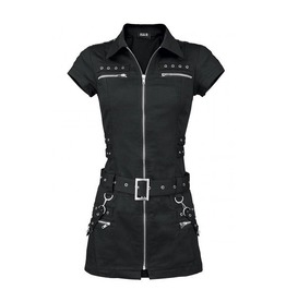 Gothic Goth Police Costume Black Mini Bondage Dress