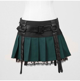 Gothic Goth Rock Style Green Mini Skirt By Punk Rave