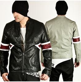 Stripe Armband Accent Leather Blouson Jacket 59