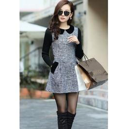 Long Sleeve Vintage Cute Plus Size Woolen Casual Dress