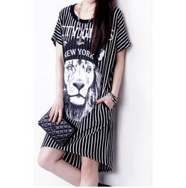Animal Lion Print Dress For Women Short Sleeve Asymmetric