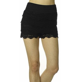 Black Multi Layered Crochet Shorts Design 8001