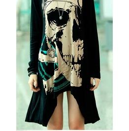 Novelty Women's Skull Print Dress Long Sleeve