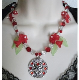 Red Rose Necklace, Boho Bohemian Hippie Gypsy Rockabilly Pin Up