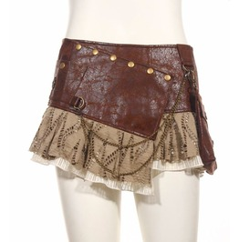 Steampunk Punk Cyber Rave Free Size Brown Mini Skirt