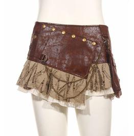 Steampunk Punk Cyber Rave Free Size Brown Mini Skirt