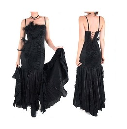 Gothic Goth Burlesque Victorian Vampire Black Long Night Dress By Punk Rave