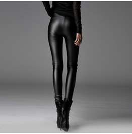 Gothic Goth Leather Look Black Leggings Pants By Punk Rave