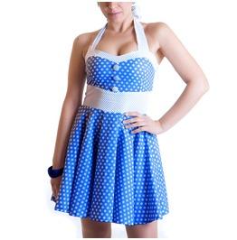 Downup Sandy Dress Polka Dots Blue Navy Pois Rockabilly Vintage Handmade
