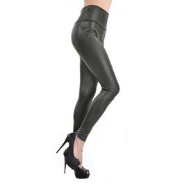 Army Green High Waist Faux Leather Leggings Design 364