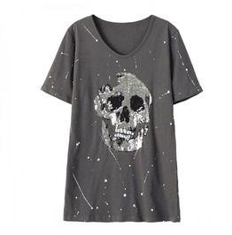 Womens Summer Skull T Shirt Sequins Embroidery