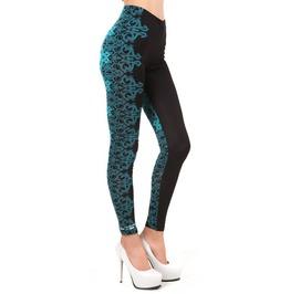 Black And Teal Floral Leggings Design 497